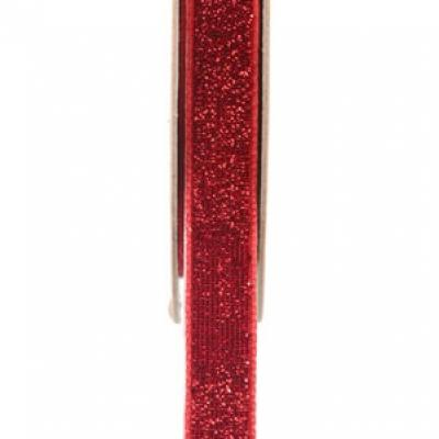 Ruban velour pailleté autocollant rouge (x1) REF/5644