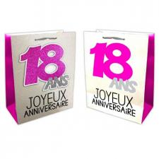 Sac anniversaire fuchsia et argent 18ans (x1) REF/SACP01F