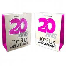 Sac anniversaire fuchsia et argent 20ans (x1) REF/SACP02F