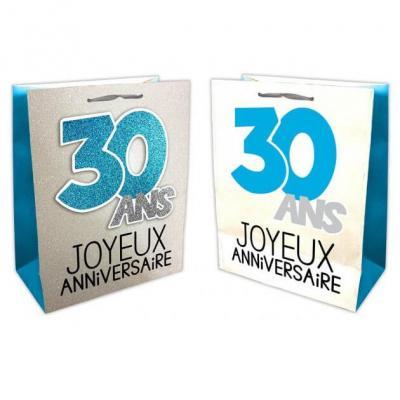 Sac anniversaire bleu et argent 30ans (x1) REF/SACP03B