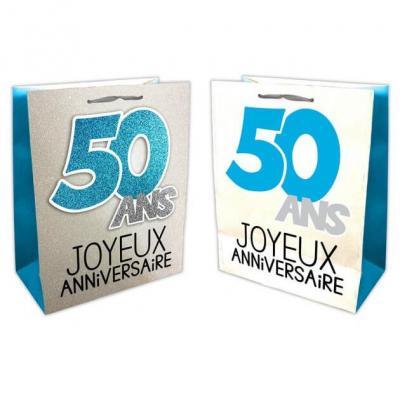 Sac anniversaire bleu et argent 50ans (x1) REF/SACP05B