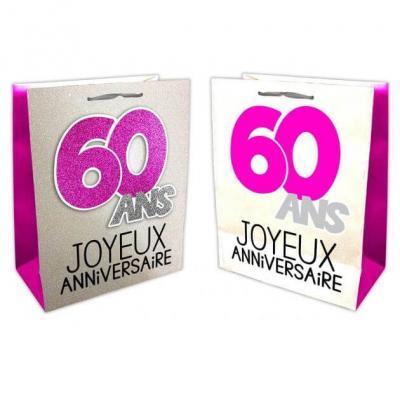 Sac anniversaire fuchsia et argent 60ans (x1) REF/SACP06F