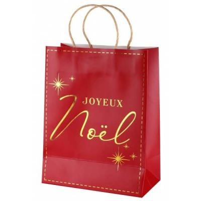 Sac cadeau Joyeux Noël rouge et doré or métallisé (x1) REF/7117