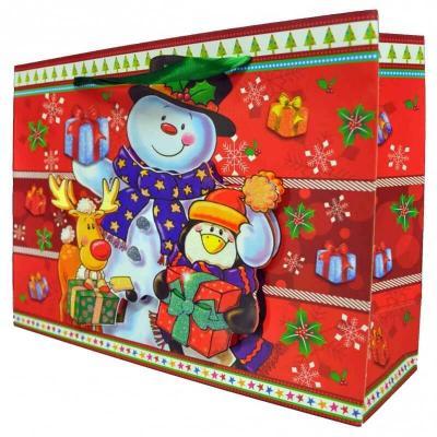 Sac cadeau de Noël avec motif en relief de 23cm H. (x1) REF/S6222