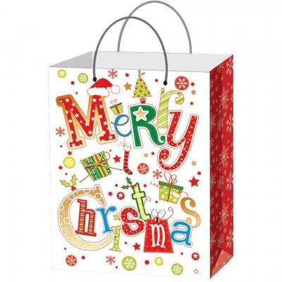 Sac cadeau de Noël: Merry Christmas 23cm H. (x1) REF/S77128