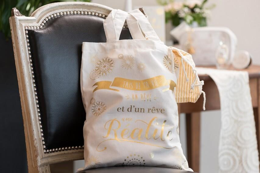 Sac de course tissu coton reutilisable festival de bonheur