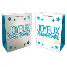 Sac joyeux anniversaire bleu et argent (x1) REF/SACP00B