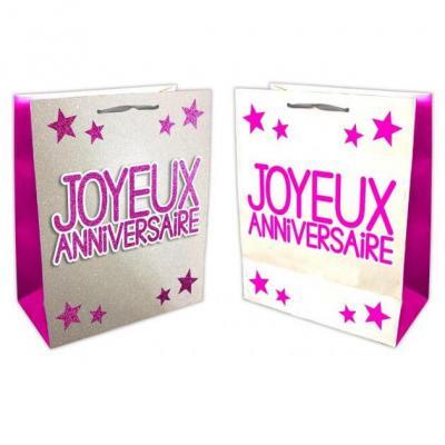 Sac joyeux anniversaire fuchsia et argent (x1) REF/SACP00F