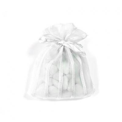 Sac organza blanc avec rayures (x6) REF/SC420