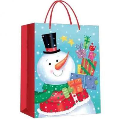 Sac de Noël avec les cadeaux du bonhomme de neige 23cm H. (x1) REF/S77125