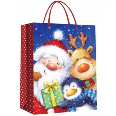 Sac papier cadeaux avec les amis du père Noël 17cm H. (x1) REF/S77113