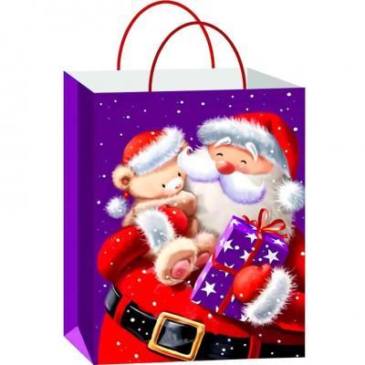 Sac cadeau avec décoration père Noël et peluche ourson 32cm H. (x1) REF/SUN404