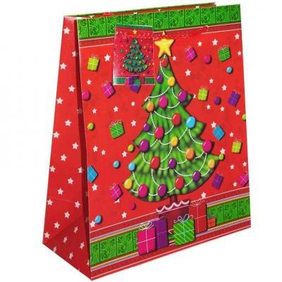 Sac cadeau de Noël avec motif décoratif sapin 23cm H. (x1) REF/S72224