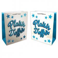 Sac cadeau plaisir d'offrir bleu et argent (x1) REF/SACP10B