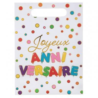Sachet cadeau pour fête anniversaire multicolore enfant (x10) REF/7227