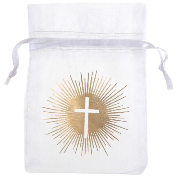 Sachet a dragee communion croix blanc et or