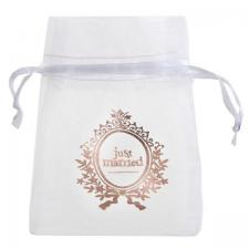 Sachet a dragee mariage just married blanc et rose gold