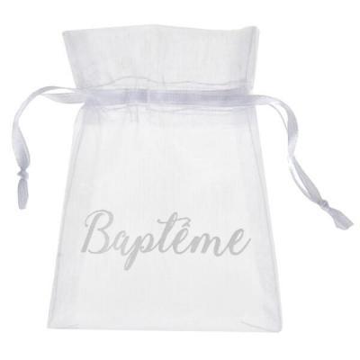Sachet à dragées Baptême blanc (x6) REF/6339
