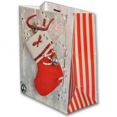 Sachet cadeau avec décoration d'une botte de Noël de 23cm H (x1) REF/SUD212