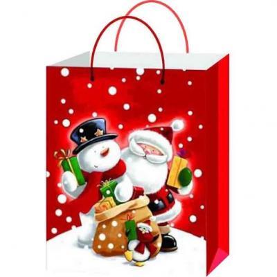 Sachet cadeau avec décoration les amis du père Noël de 23cm H (x1) REF/SUN205