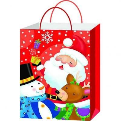 Sachet cadeau avec décoration père Noël et ses amis de 23cm H (x1) REF/SUN202