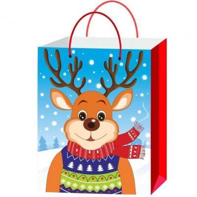 Sachet cadeau avec décoration Renne de Noël de 26.5cm H (x1) REF/SUD303