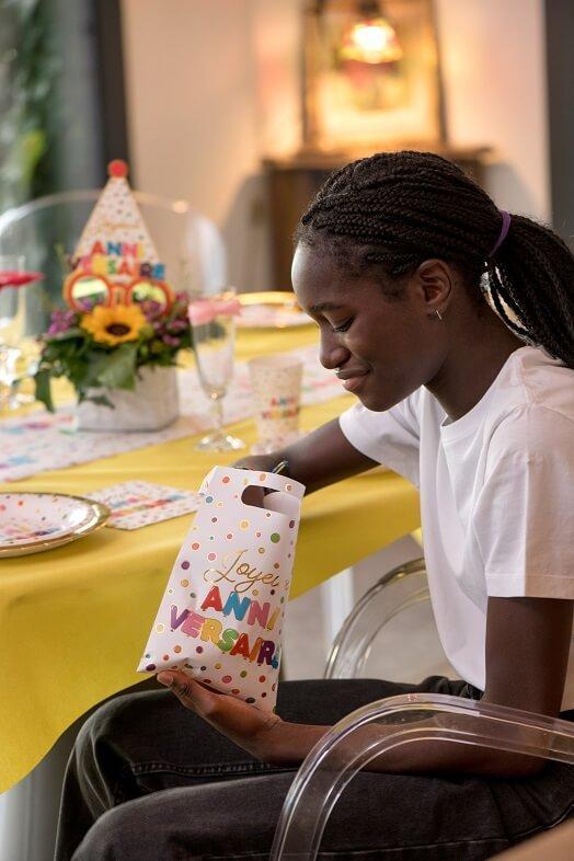Sachet pour bonbon joyeux anniversaire multicolore