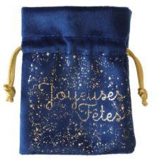 Sachet tissu voie lactée Joyeuses fêtes en bleu marine et or (x2) REF/7123