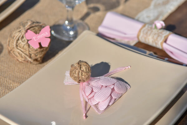 Sachet tulle rose pour dragee