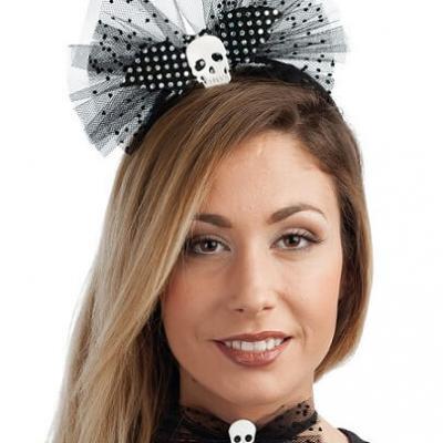 Serre-tête avec noeud Halloween: Crâne (x1) REF/40167