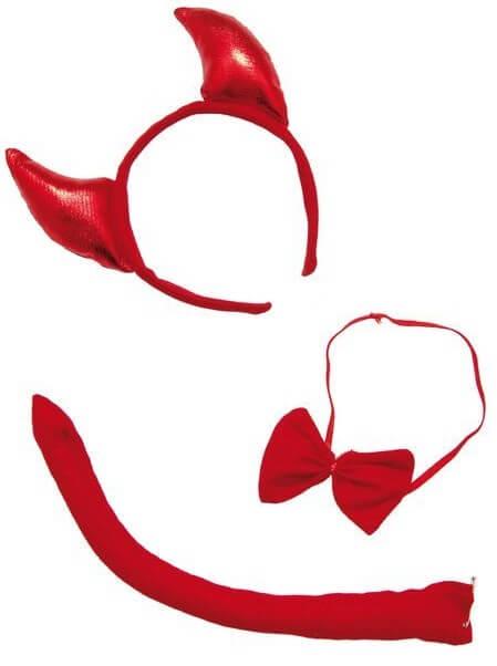 Serre tete diable avec noeud et queue rouge