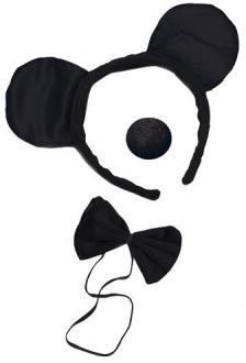 Serre-tête, nez et noeud de souris noir (x1) REF/19430