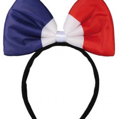 Serre-tête noeud papillon tricolore France (x1) REF/00/0985