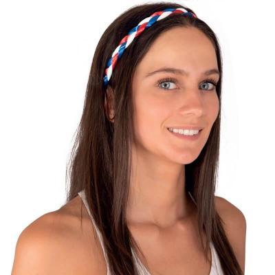 Serre-tête tressé supporters France tricolore bleu, blanc et rouge (x1) REF/18300