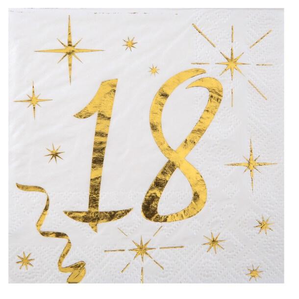 Serviette anniversaire 18ans blanche et or