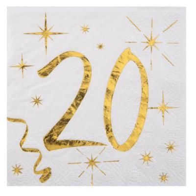 Serviette cocktail anniversaire 20ans (x20) REF/6159