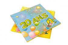 Serviette anniversaire 20ans (x20) REF/AA1005PP/SV20