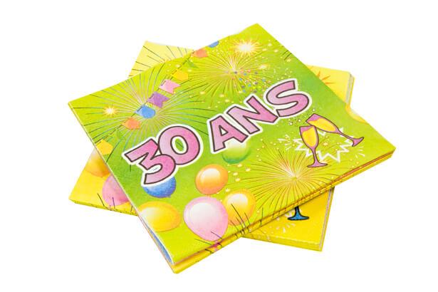 Serviette anniversaire 30ans 1