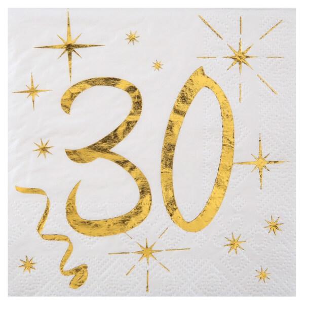 Serviette anniversaire 30ans blanche et or