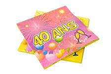 Serviette anniversaire 40ans (x20) REF/AA1005PP/SV40