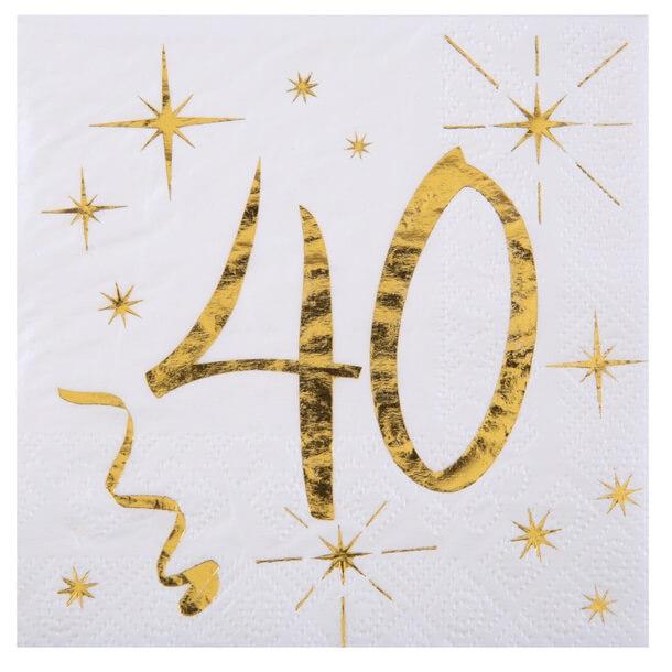 Serviette anniversaire 40ans blanche et or