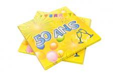 Serviette anniversaire 50ans (x20) REF/AA1005PP/SV50