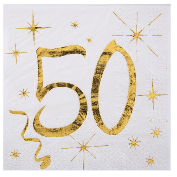 Serviette anniversaire 50ans blanche et or