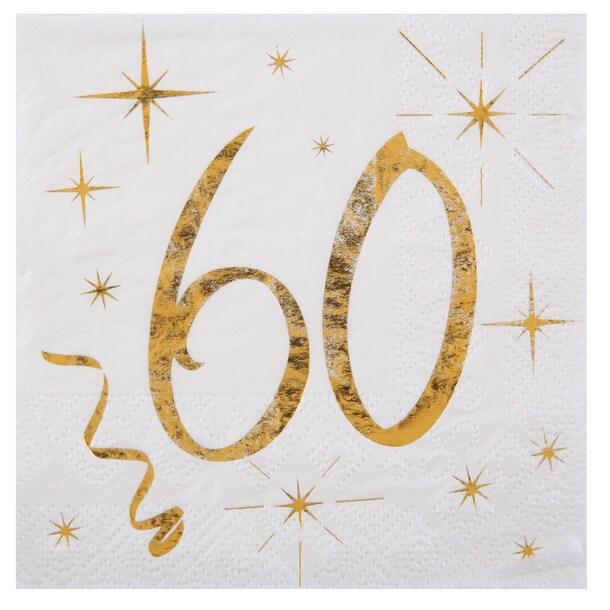 Serviette anniversaire 60ans blanche et or