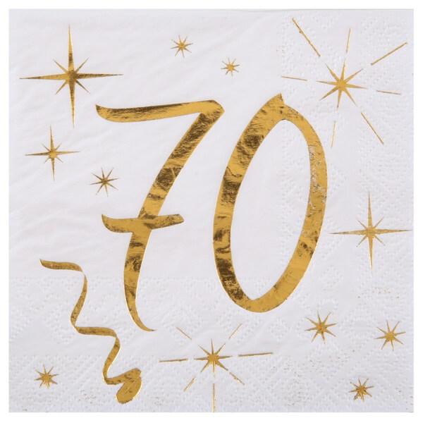 Serviette anniversaire 70ans blanche et or