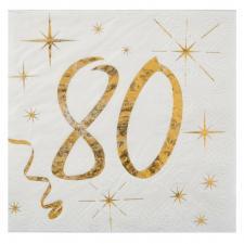 Serviette cocktail anniversaire 80ans (x20) REF/6159