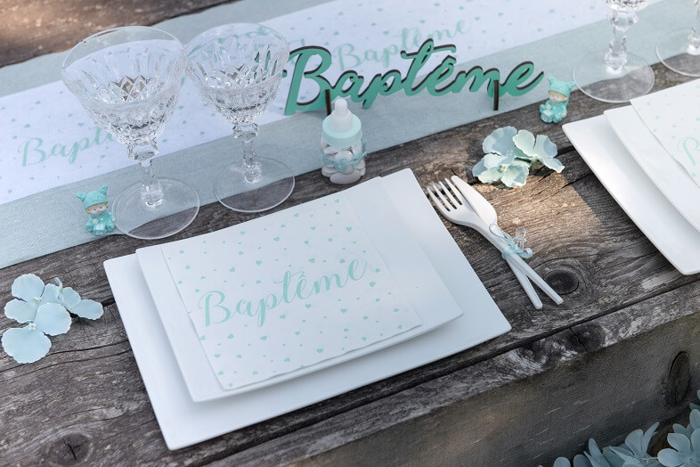 Serviette bapteme mint