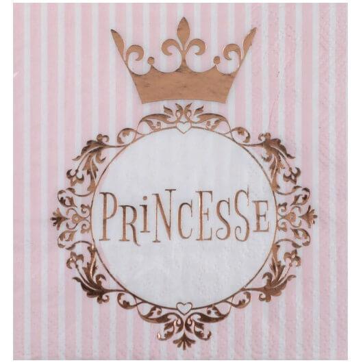 Serviette cocktail anniversaire princesse blanche et rose gold