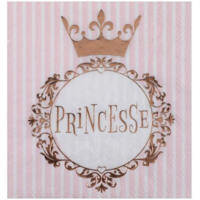 Serviette cocktail anniversaire Princesse blanche et rose gold (x20) REF/7245