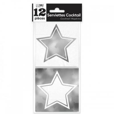 Mini Serviette cocktail étoile argentée métallisée 10cm x 10cm (x12) REF/APSEA